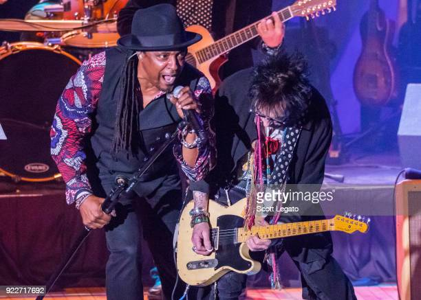 Bernard Fowler and Earl Slick perform during the Celebrating David Bowie concert at The Royal Oak Music Theater on February 19 2018 in Royal Oak...