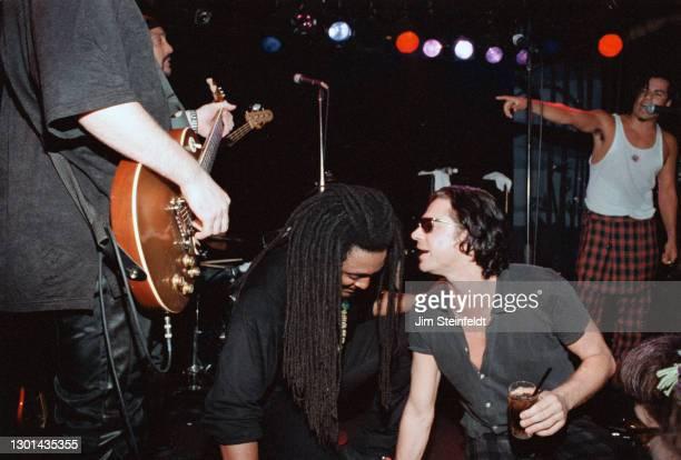 Bernard Fowler, Michael Hutchence, Stevie Salas, perform at the Nicklebag concert at the Viper Room in Los Angeles, California on November 5, 1997.