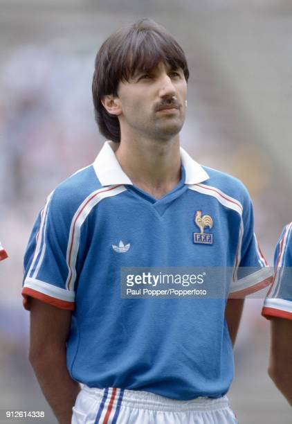 Bernard Genghini lines up for France before the FIFA World Cup 3rd/4th place playoff at the Estadio Cuauhtemoc in Puebla 28th June 1986 France won 42...