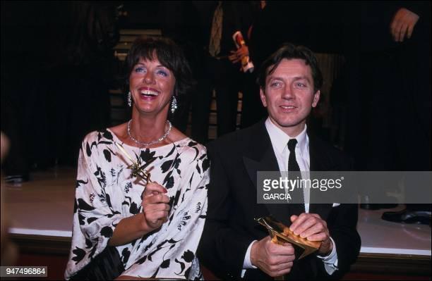 Bernard Giraudeau and Annie Duperey 7 d'or awards 1993