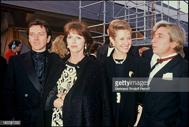 Bernard Giraudeau, Anny Duperey, Daniele Gilbert and Pascal Sevran at a party celebrating Tf1 Channel Privatization in 1987.
