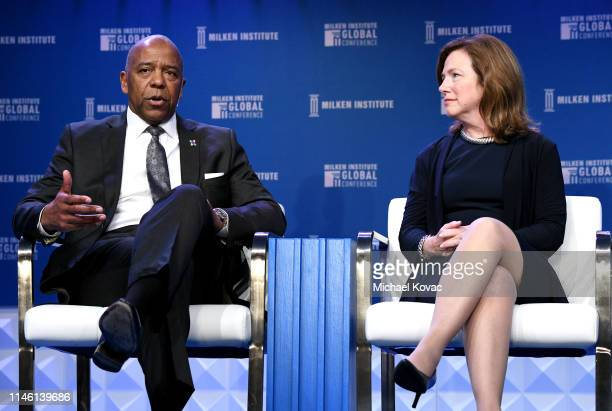 Bernard Harris Jr and Barbara Hampton participate in a panel discussion during the annual Milken Institute Global Conference at The Beverly Hilton...