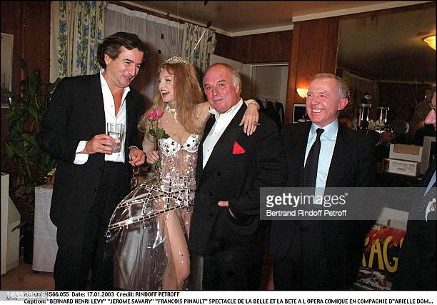 Bernard Henri Levy Jerome Savary Francois Pinault play of Beauty and the Beast at the Comic opera of Paris along with Arielle Dombasle