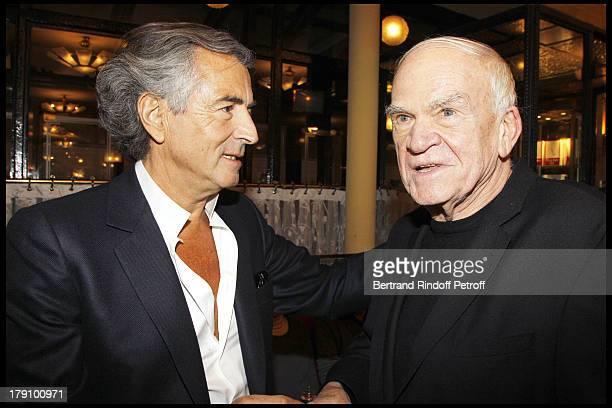 Bernard Henri Levy Milan Kundera at The 20th Anniversary Of La Regle Du Jeu Celebrated At The Cafe De Flore In Paris
