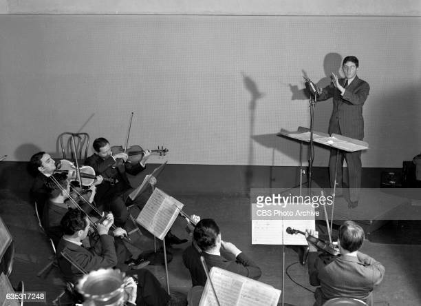 Bernard Herrmann conductor with the Columbia Studio Orchestra in Liederkranz Hall Building New York NY Image dated October 1 1938