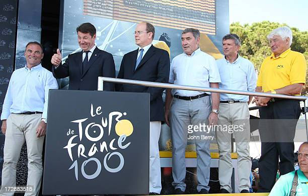 Bernard Hinault Christian Estrosi mayor of Nice Prince Albert of Monaco Eddy Merckx Bernard Thvenet and Raymond Poulidor stand on the podium after...