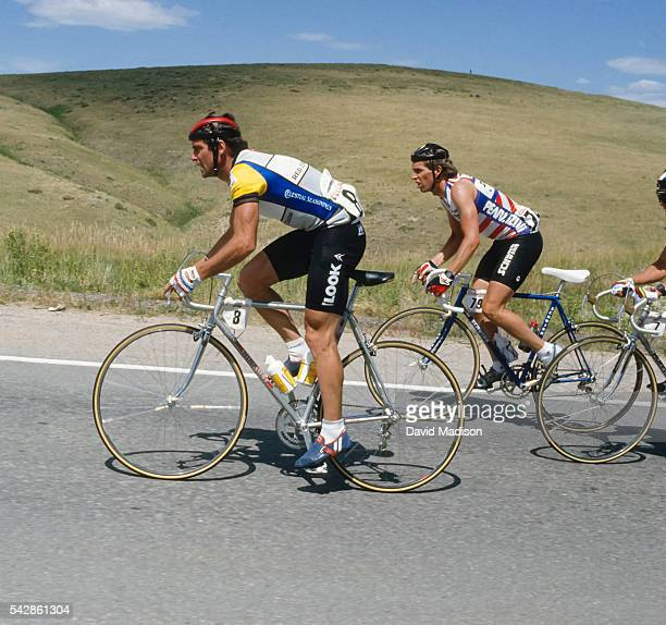 Bernard Hinault of France competes in the Morgul Bismarck stage of the 1985 Coors Classic bicycle race on August 16, 1985 near Boulder, Colorado.