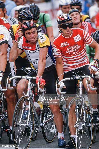 Bernard Hinault of France competes in the Vail Criterium stage of the 1985 Coors Classic bicycle race on August 11, 1985 in Vail, Colorado.