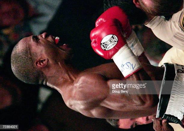 Bernard Hopkins celebrates after defeating Oscar De La Hoya for the world middleweight title at the MGM Grand Garden Arena on September 18 2004 in...