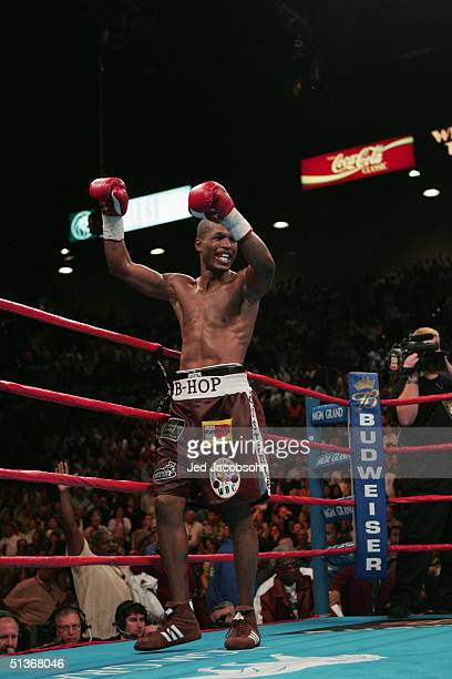Bernard Hopkins celebrates his win over Oscar De La Hoya during their match for the world middleweight title at the MGM Grand Garden Arena on...
