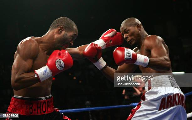 Bernard Hopkins connects with a left on the face of Jermain Taylor during the undisputed world middleweight championship fight at the Mandalay Bay...