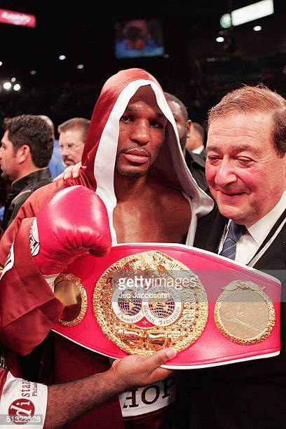 Bernard Hopkins displays one of his belts after defeating Oscar De La Hoya for the world middleweight title at the MGM Grand Garden Arena on...