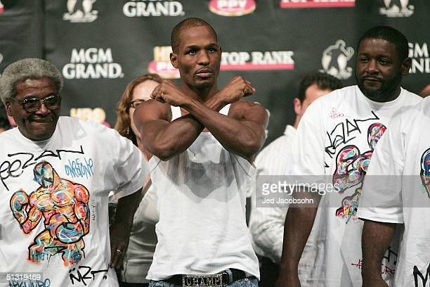 Bernard Hopkins gestures to the crowd before the weighin for his fight against Oscar De La Hoya for the undisputed middleweight hampionship at the...