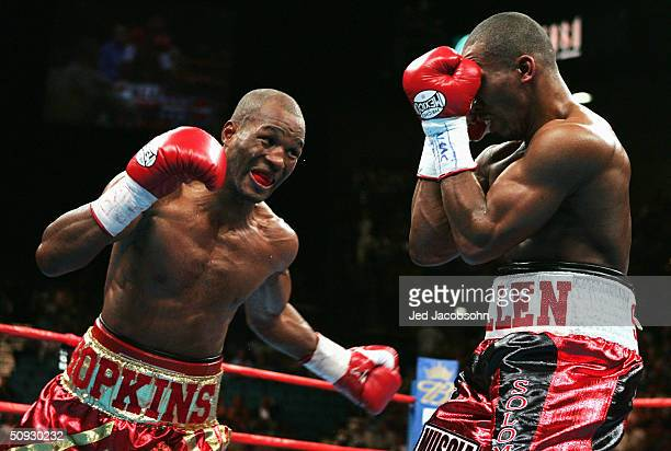 Bernard Hopkins hits Robert Allen during their WBC WBA and IBF World Middlewight Championship flight at the MGM Grand Garden Casino on June 5 2004 in...