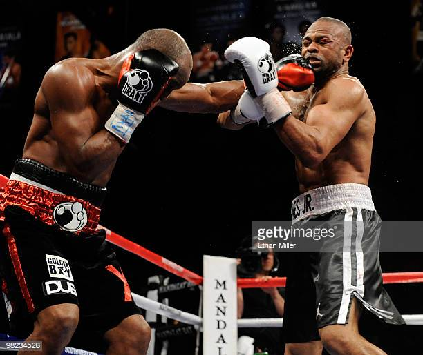 Bernard Hopkins hits Roy Jones Jr during the 12th round of their light heavyweight bout at the Mandalay Bay Events Center April 3 2010 in Las Vegas...