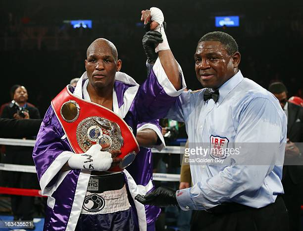 Bernard Hopkins is declared the winner over Tavoris Cloud during the IBF Light Heavyweight Title fight on March 9, 2013 at Barclays Center in the...
