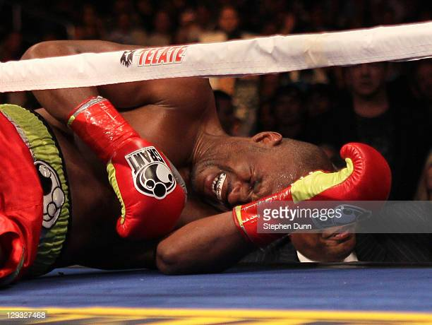 Bernard Hopkins lies on the canva in pain after falling and injuring his shoulder in the second round against Chad Dawson in their WBC and Ring...