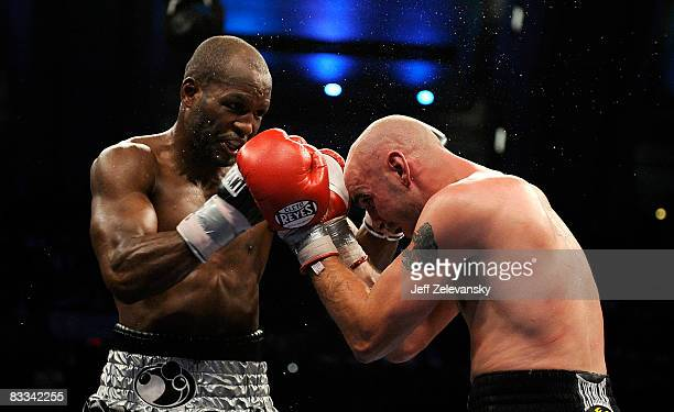 Bernard Hopkins of Philadelphia Pennsylvania connects to Kelly Pavlik of Youngstown Ohio during their light heavyweight bout at Boardwalk Hall on...