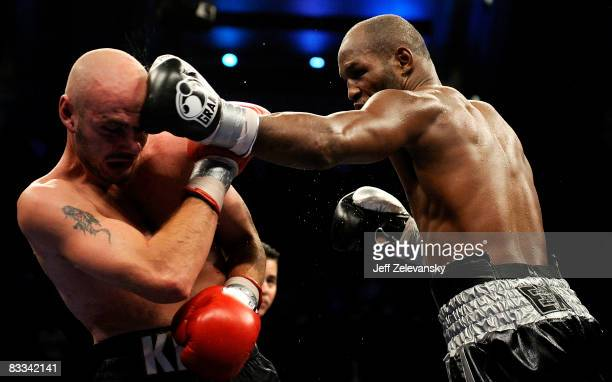 Bernard Hopkins of Philadelphia Pennsylvania connects with a jab to Kelly Pavlik of Youngstown Ohio during their light heavyweight bout at Boardwalk...