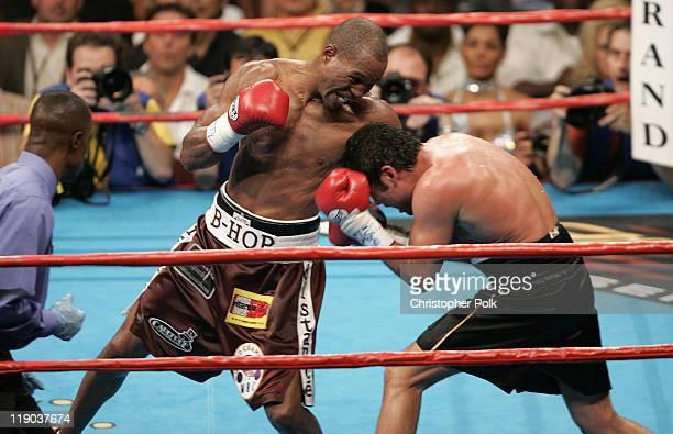 Bernard Hopkins red trunks lands the final blow to Oscar de la Hoya black trunks fights ending a WBC/WBA/IBF middleweight title fight at the MGM...