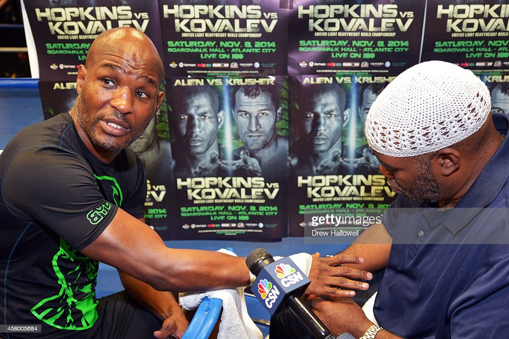 Bernard Hopkins talks to the media while getting his hands taped at Joe Hand Boxing Gym on October 28, 2014 in Philadelphia, Pennsylvania.