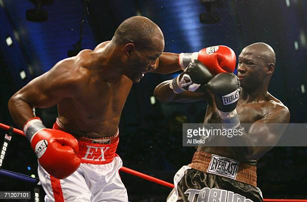 Bernard Hopkins throws a left punch against Antonio Tarver during their IBO Light Heavyweight Championship fight at Boardwalk Hall on June 10, 2006...