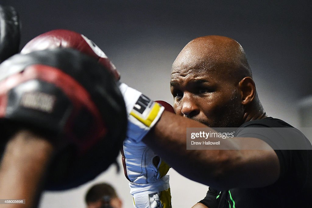 Bernard Hopkins works out for the media at Joe Hand Boxing Gym on October 28, 2014 in Philadelphia, Pennsylvania.