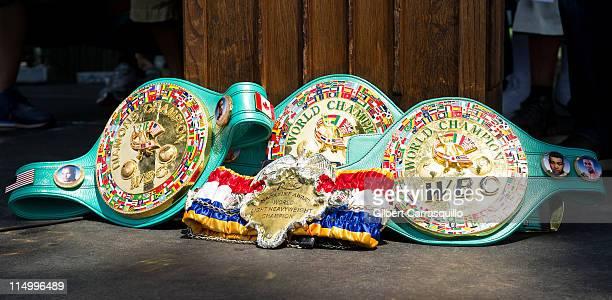 Bernard Hopkins's Championship Belts on display during the press conference honoring WBC WBC Diamond and Ring Magazine Light Heavyweight World...