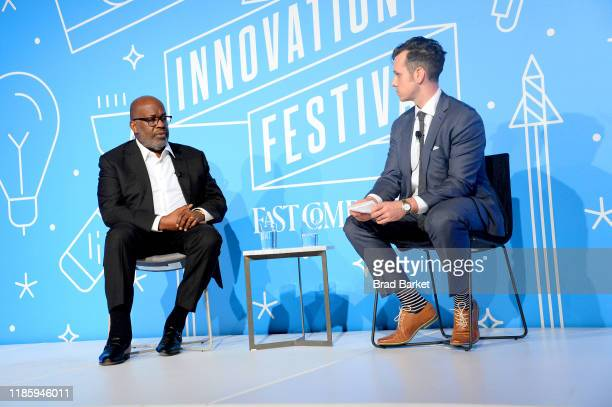 Bernard J Tyson and Morgan Clendaniel speak on stage at the Shaping the Future of Health Care Affordability innovation and Total Health at the Fast...