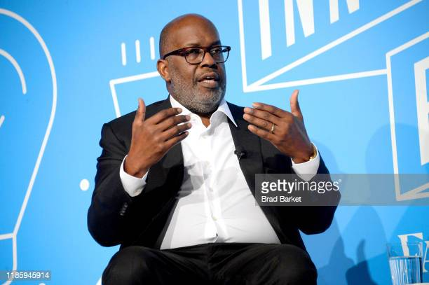 Bernard J Tyson speaks on stage at the Shaping the Future of Health Care Affordability innovation and Total Health at the Fast Company Innovation...
