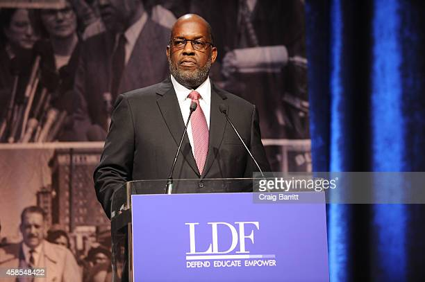 Bernard J Tyson speaks onstage during the Legal Defense Fund Annual Gala to commemorate the 60th anniversary of Brown V Board of Education at the New...