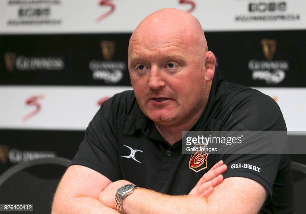 Bernard Jackman Head coach of Newport Gwent Dragons speaks at the press conference after the Guinness Pro14 between Southern Kings and Newport Gwent...