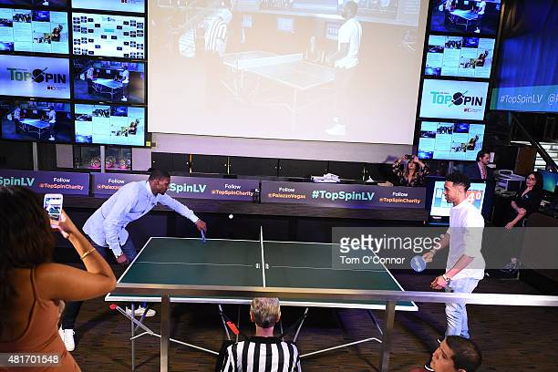 Bernard James of the Dallas Mavericks and Courtney Lee of the Memphis Grizzlies during the 2015 Top Spin Celebrity Ping Pong Tournament hosted by Los...