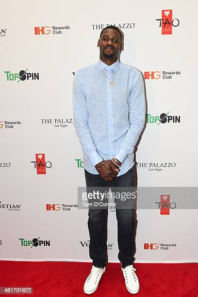 Bernard James of the Dallas Mavericks during the 2015 Top Spin Celebrity Ping Pong Tournament hosted by Los Angeles Clipper Chris Paul on July 18...
