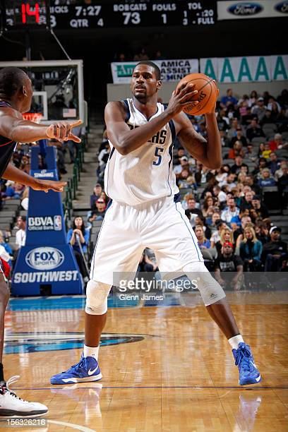 Bernard James of the Dallas Mavericks looks to pass against the Charlotte Bobcats on October 26 2012 at the American Airlines Center in Dallas Texas...