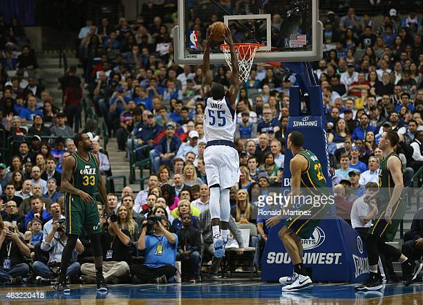 Bernard James of the Dallas Mavericks makes a slam dunk against the Utah Jazz at American Airlines Center on February 11 2015 in Dallas Texas NOTE TO...