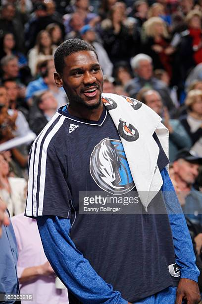 Bernard James of the Dallas Mavericks sits on the bench during the game against the Orlando Magic on February 20 2013 at the American Airlines Center...