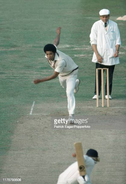 Bernard Julien of West Indies bowls to Barry Wood of England during the 3rd Prudential Trophy One Day International between England and West Indies...