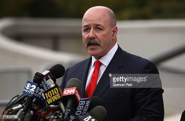 Bernard Kerik speaks to the media following a court appearance on corruption charges November 9, 2007 in White Plains, New York. Kerik, who had been...
