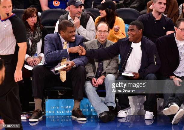 Bernard King and Tracy Morgan attend the Charlotte Hornets Vs New York Knicks game at Madison Square Garden on November 7 2017 in New York City
