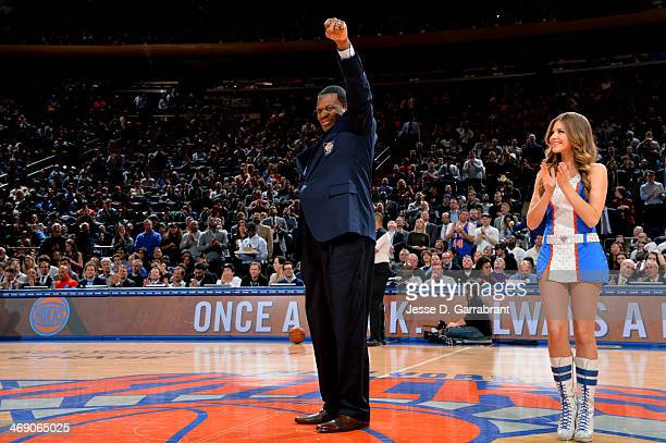 Bernard King gets introduced before the game between the Sacramento Kings and New York Knicks on February 12 2014 at Madison Square Garden in New...