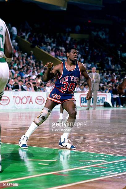 Bernard King of the New York Knicks cuts through the lane against the Boston Celtics during a game played in 1987 at the Boston Garden in Boston...