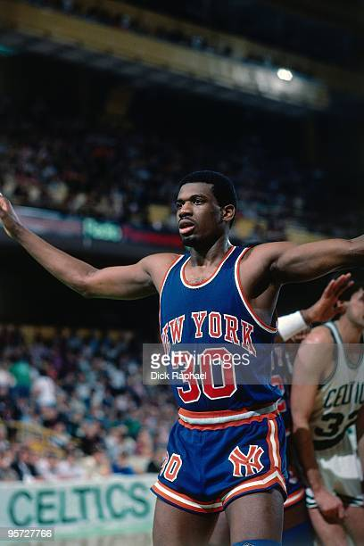 Bernard King of the New York Knicks defends against the Boston Celtics during a game played in 1984 at the Boston Garden in Boston Massachusetts NOTE...
