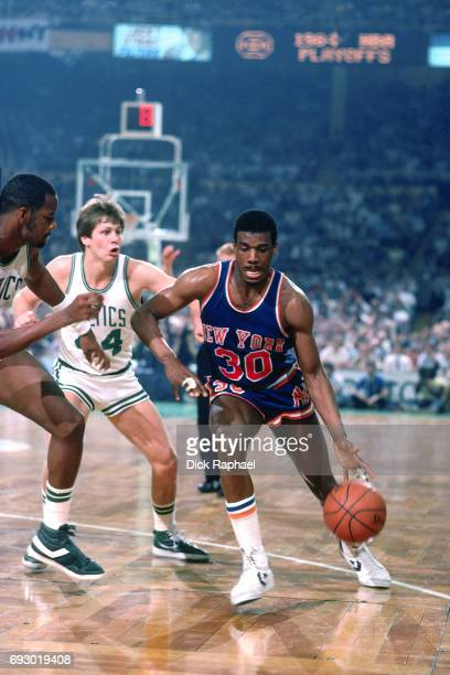 Bernard King of the New York Knicks dribbles circa 1985 at the Boston Garden in Boston Massachusetts NOTE TO USER User expressly acknowledges and...