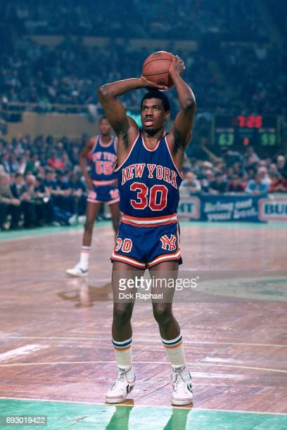 Bernard King of the New York Knicks shoots circa 1985 at the Boston Garden in Boston Massachusetts NOTE TO USER User expressly acknowledges and...
