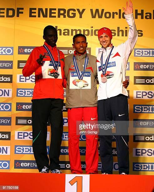 Bernard Kiprop Kipyego Zersenay Tadese and Dathan Ritzenhein celebrate their medals in the Men's IAAF/EDF Energy World Half Marathon Championships...