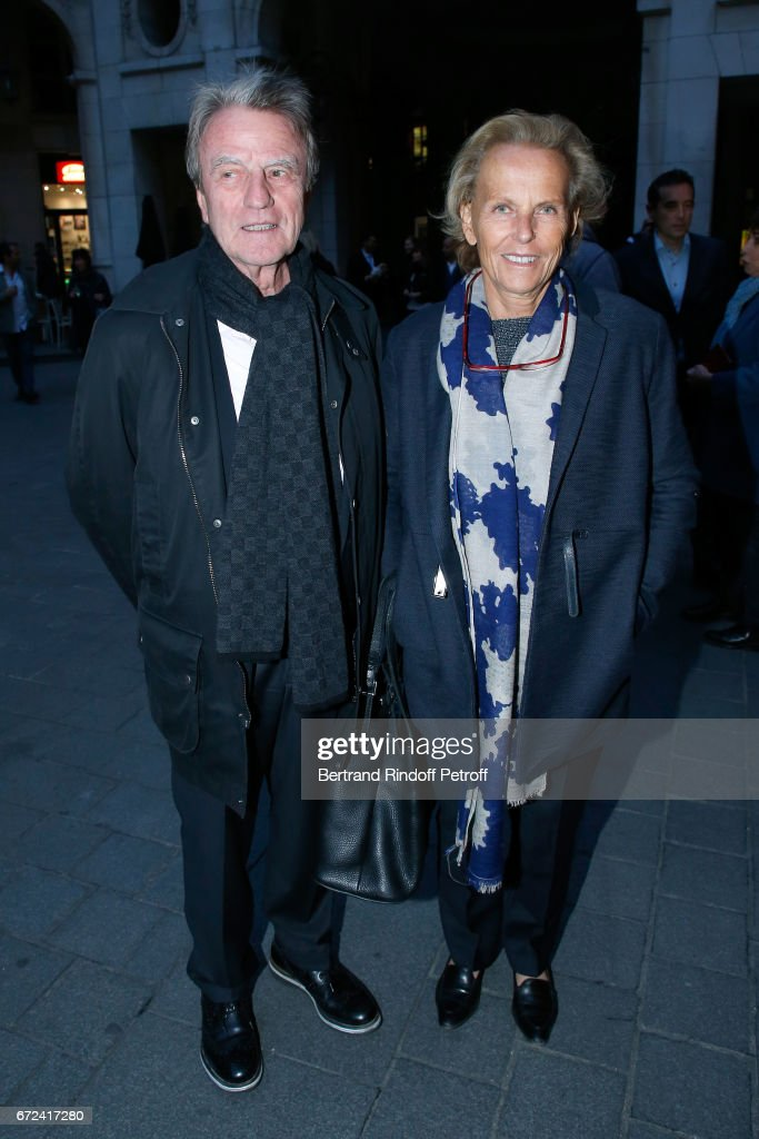 Bernard Kouchner and his wife Christine Ockrent attend 'La Recompense' Theater Play at Theatre Edouard VII on April 24, 2017 in Paris, France.