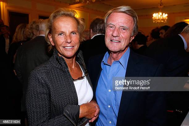 Bernard Kouchner and his wife Christine Ockrent attend 'Le Mensonge' Theater Play Held at Theatre Edouard VII on September 14 2015 in Paris France