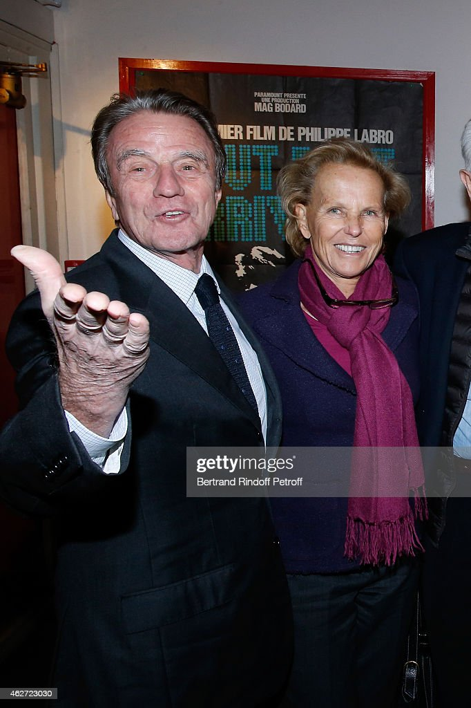 Bernard Kouchner and his wife Christine Ockrent attend the Private Screening of the Movie 'Tout Peut Arriver' at Mac Mahon Cinema on February 3, 2015 in Paris, France. This film is the first film of Philippe Labro. It will be broadcast on the TV channel D8 Sunday, February 22, 2015