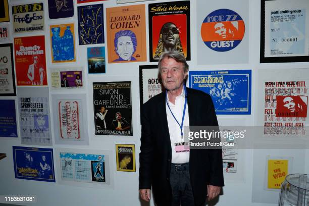Bernard Kouchner attends Albert Koski exposes its Rock&Roll Posters Collection at Galerie Laurent Godin on June 03, 2019 in Paris, France.